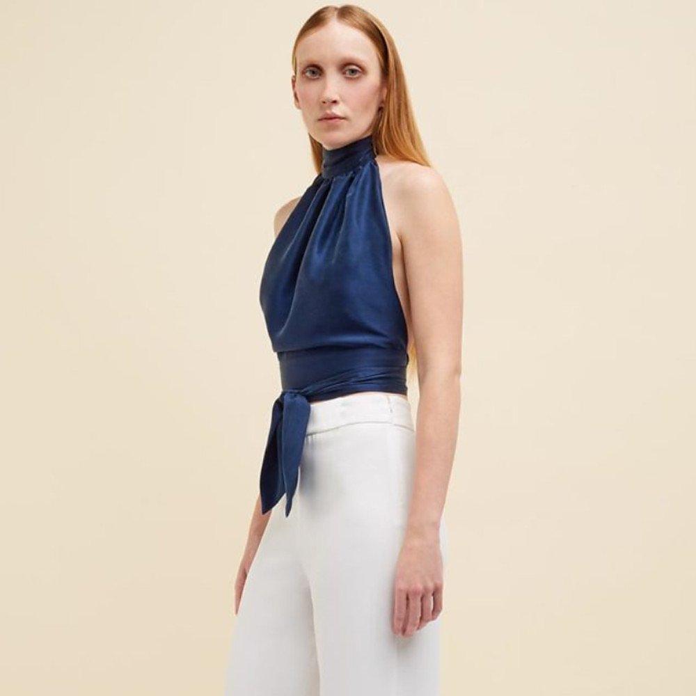 Harmur Classic Silk Halter Top