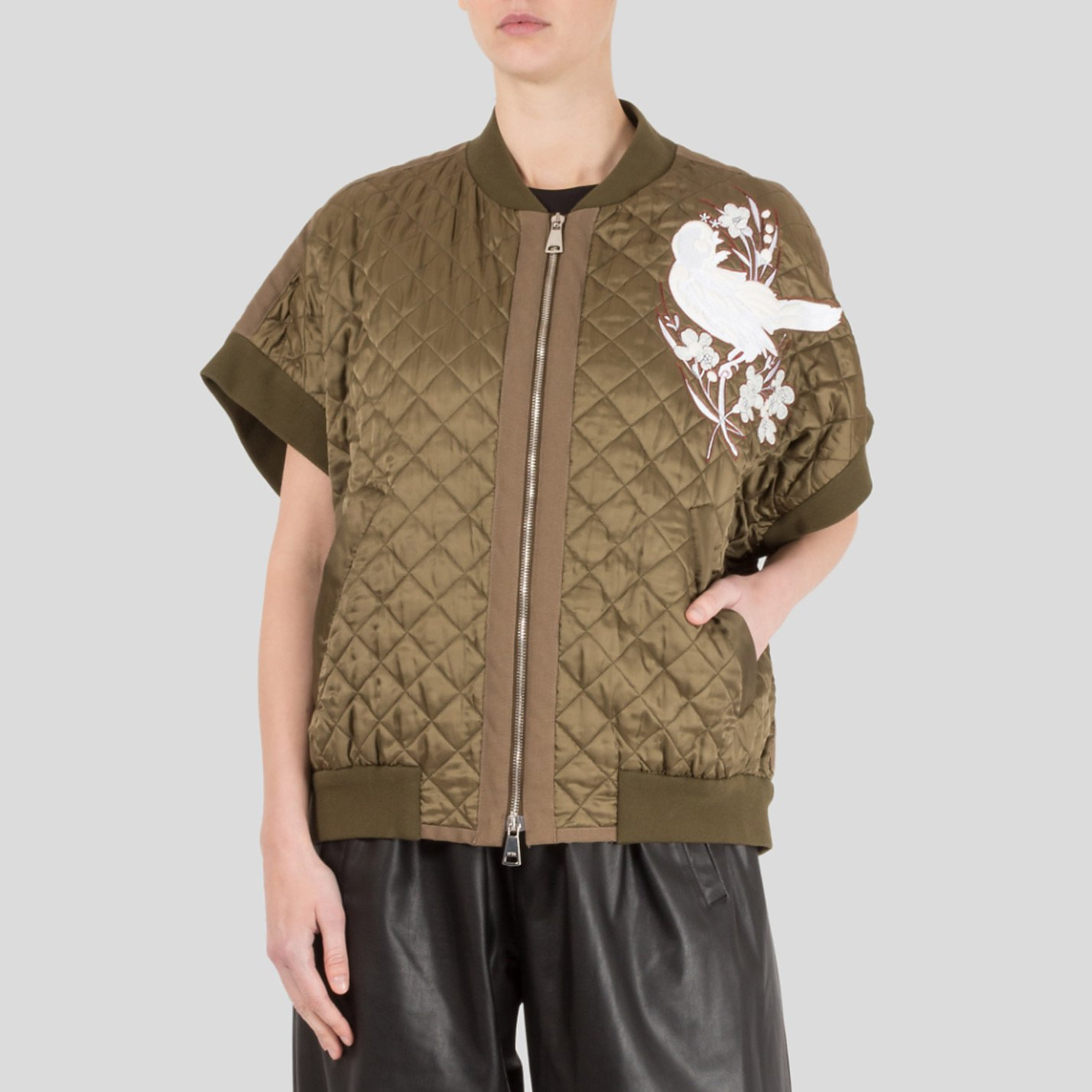 No.21 Quilted Bomber Gilet With Embroidery