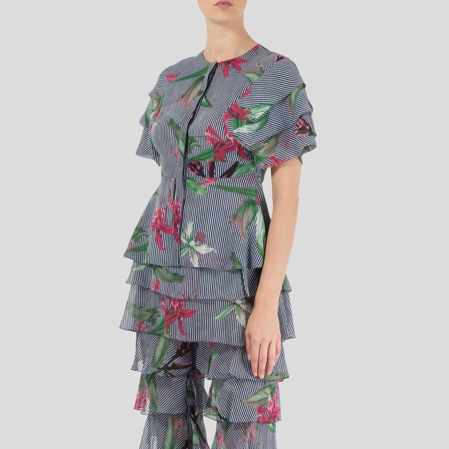 Starsica Short Sleeve Jungle Print Blouse