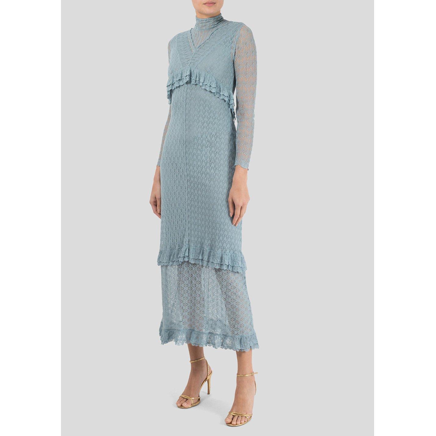 Alexa Chung Ruffled Stretch-Lace Midi Dress