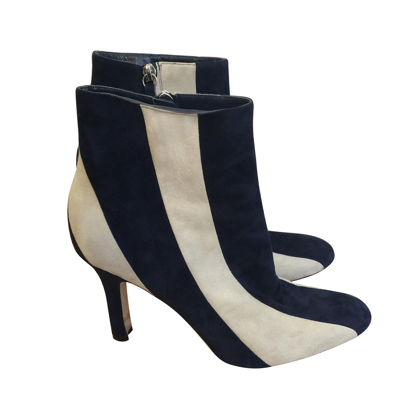 Manolo Blahnik Striped Suede Ankle Boots