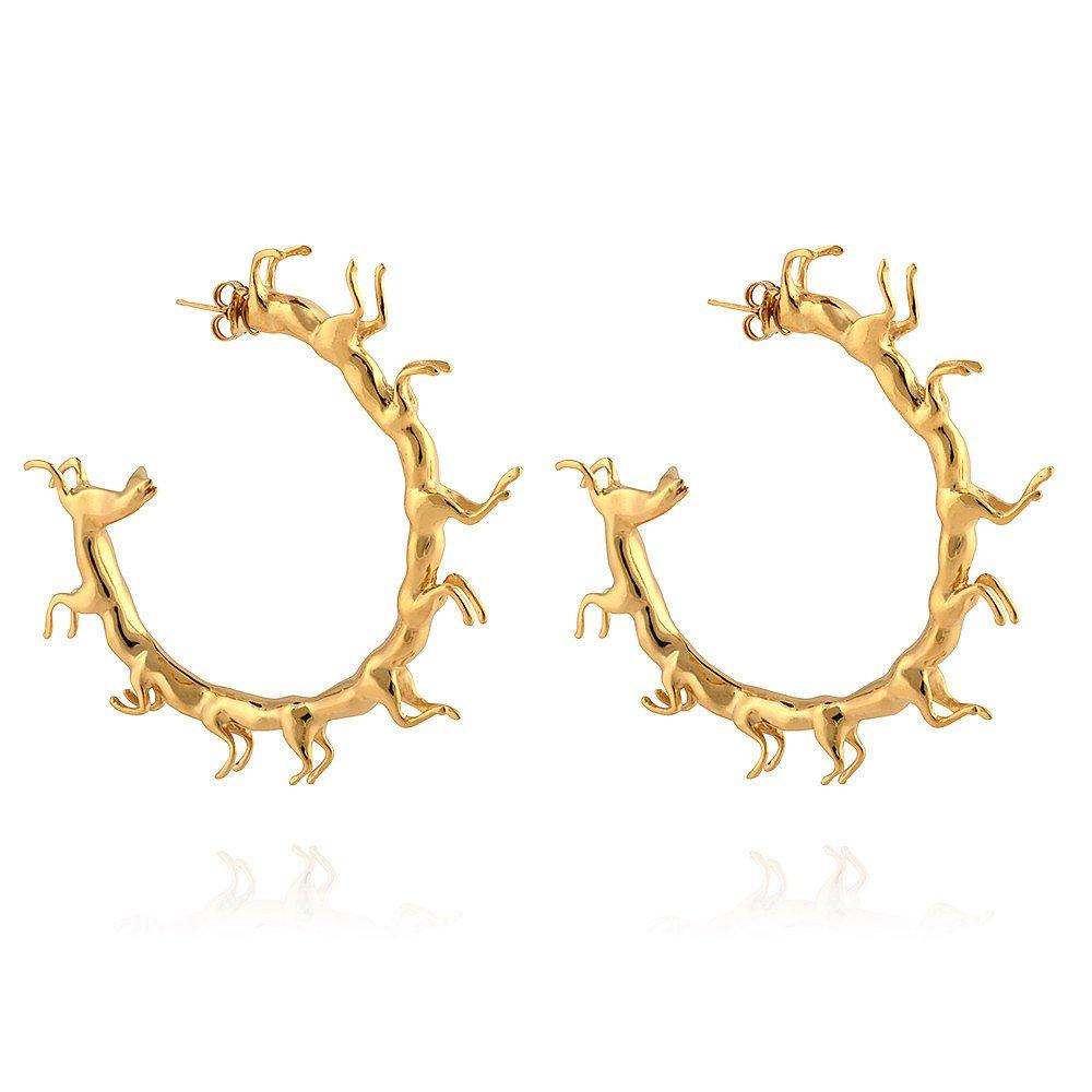 Smith/Grey Hoop Earrings with Horses