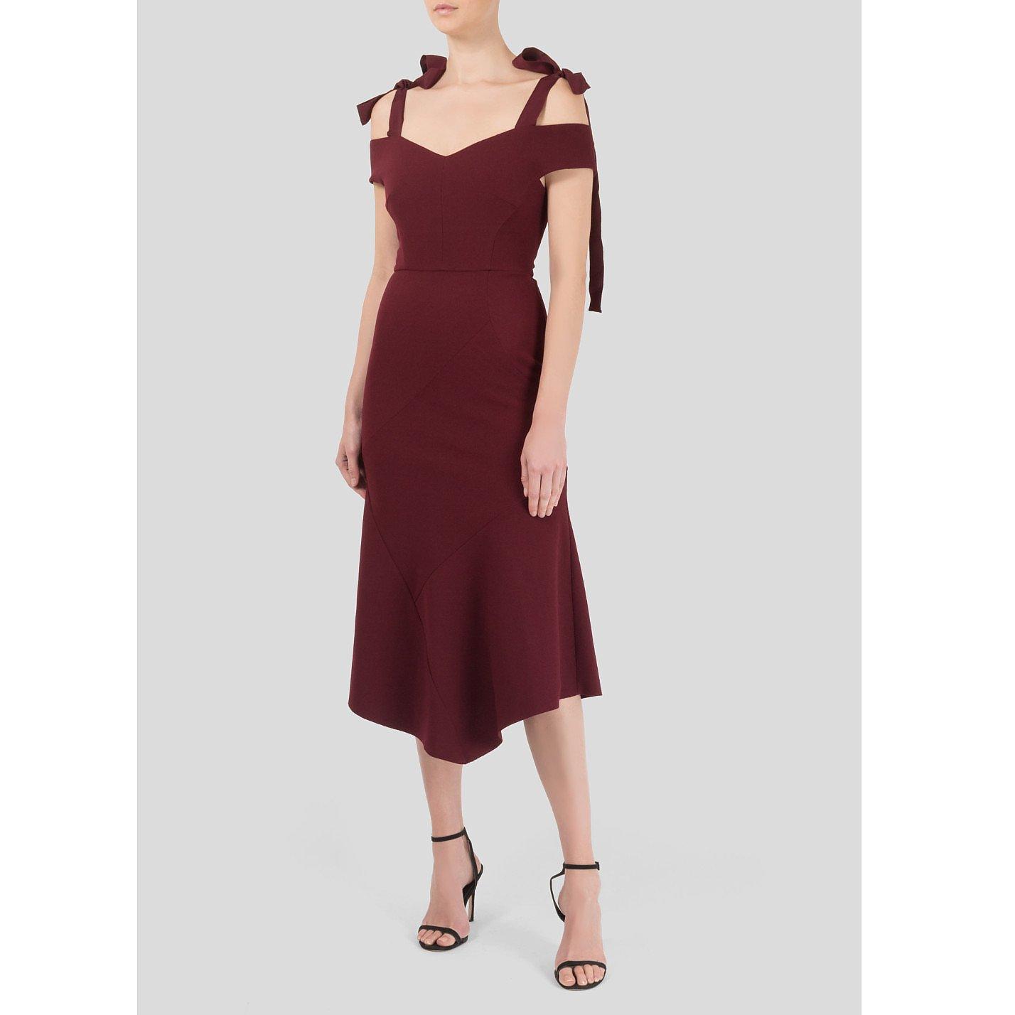 Rebecca Vallance Cardinale Off-The-Shoulder Crepe Dress