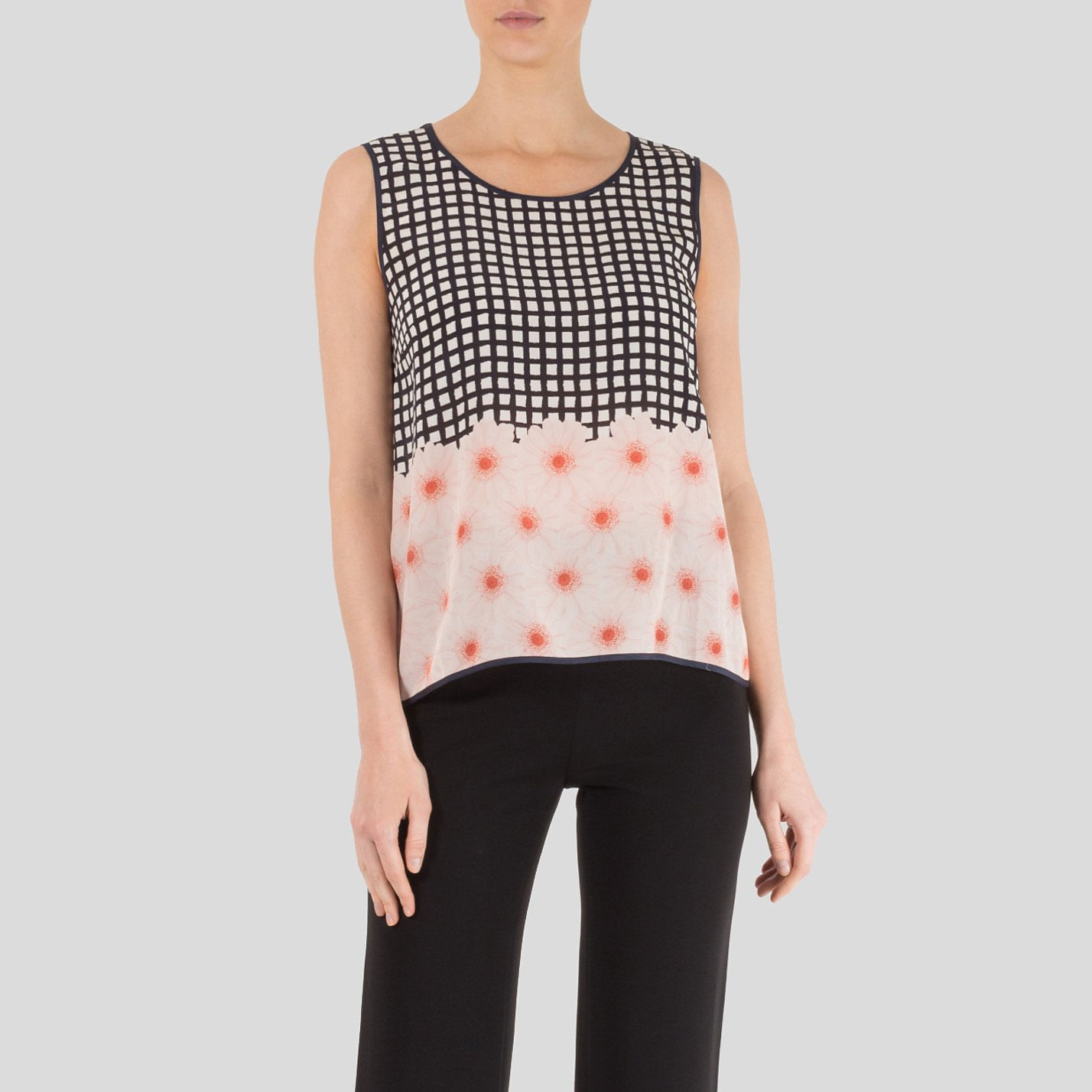 Mother of Pearl Floral Check Silk Top