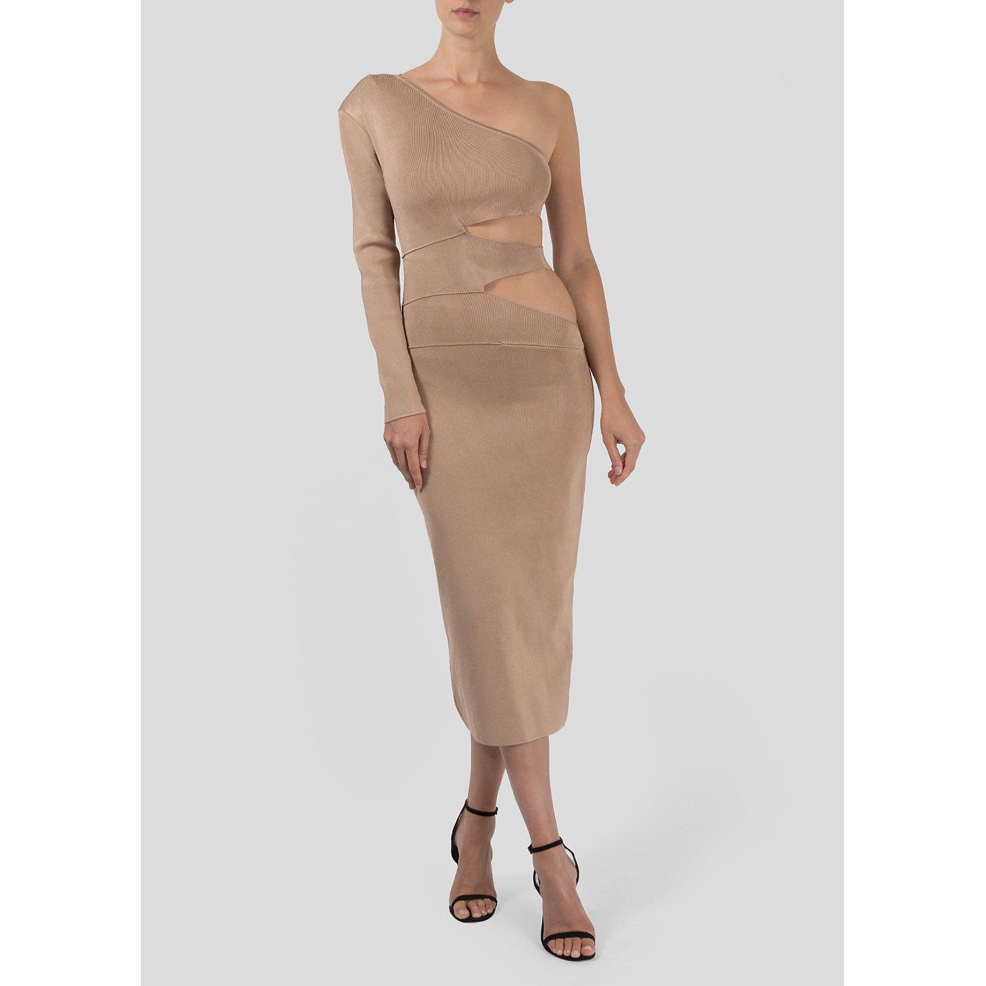 Balmain Asymmetrical Bodycon Midi Dress