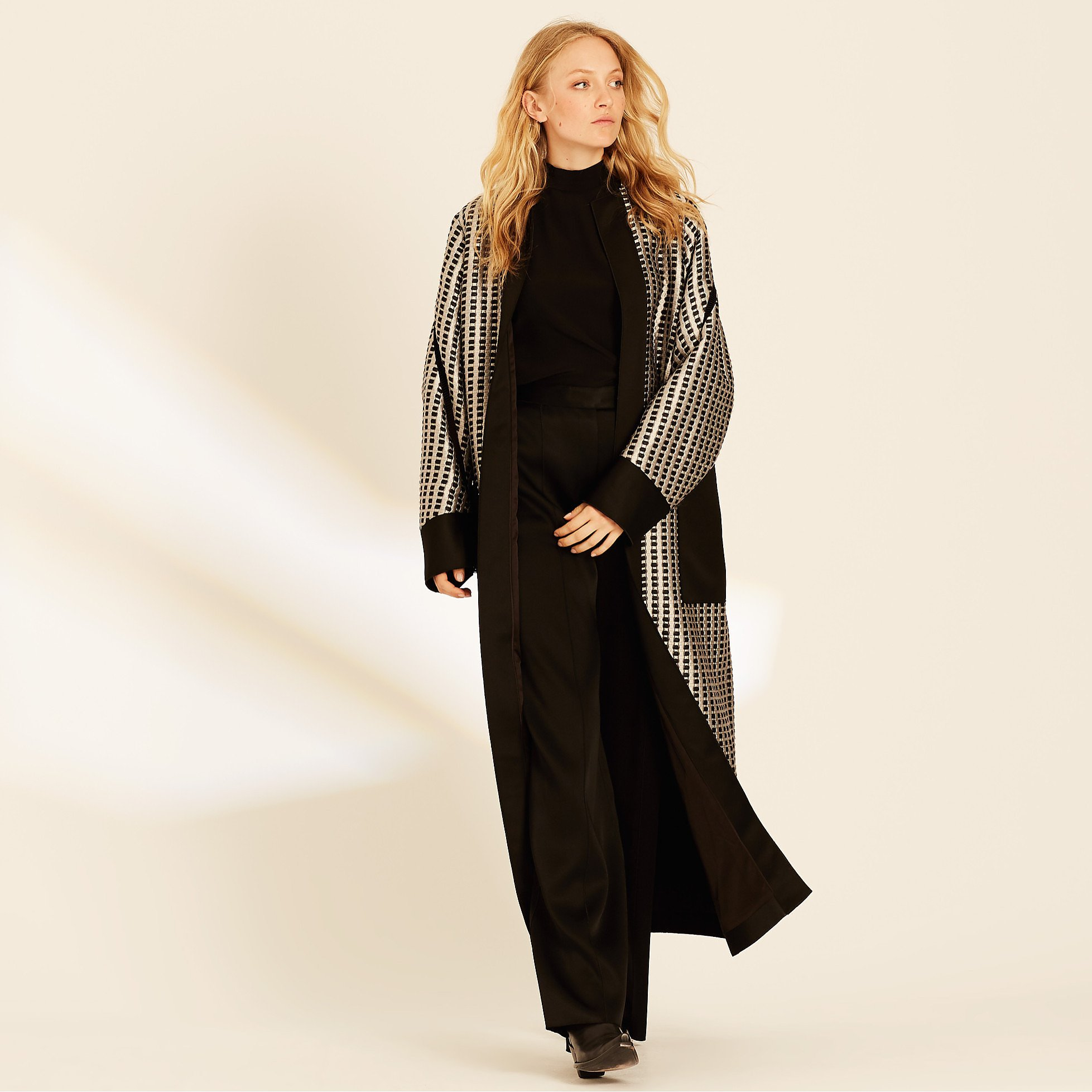 Amanda Wakeley Quilted Jacquard Long Occasion Coat