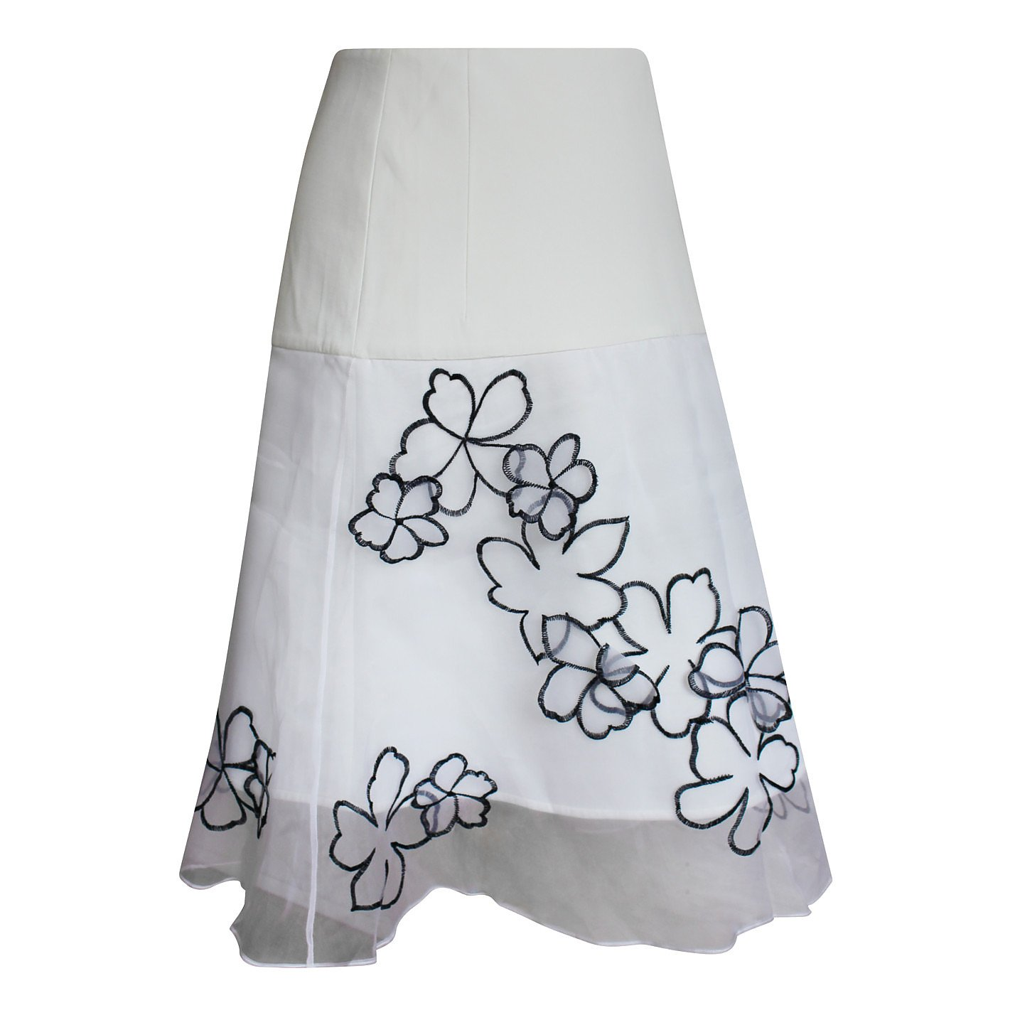 Eudon Choi Floral Appliqué Organza Skirt