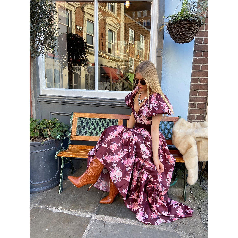 Love Shack Fancy Ida Puff Sleeve Floral Gown
