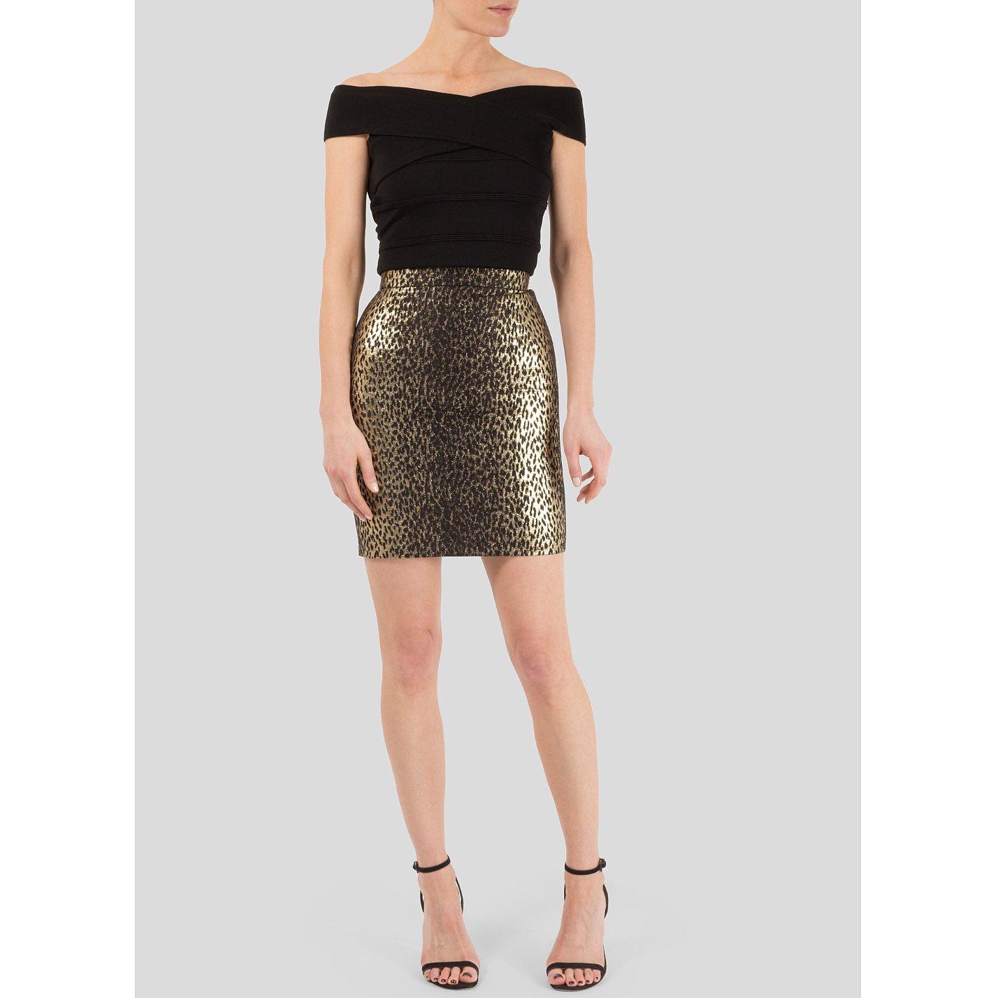 Saint Laurent Metallic Leopard Mini Skirt