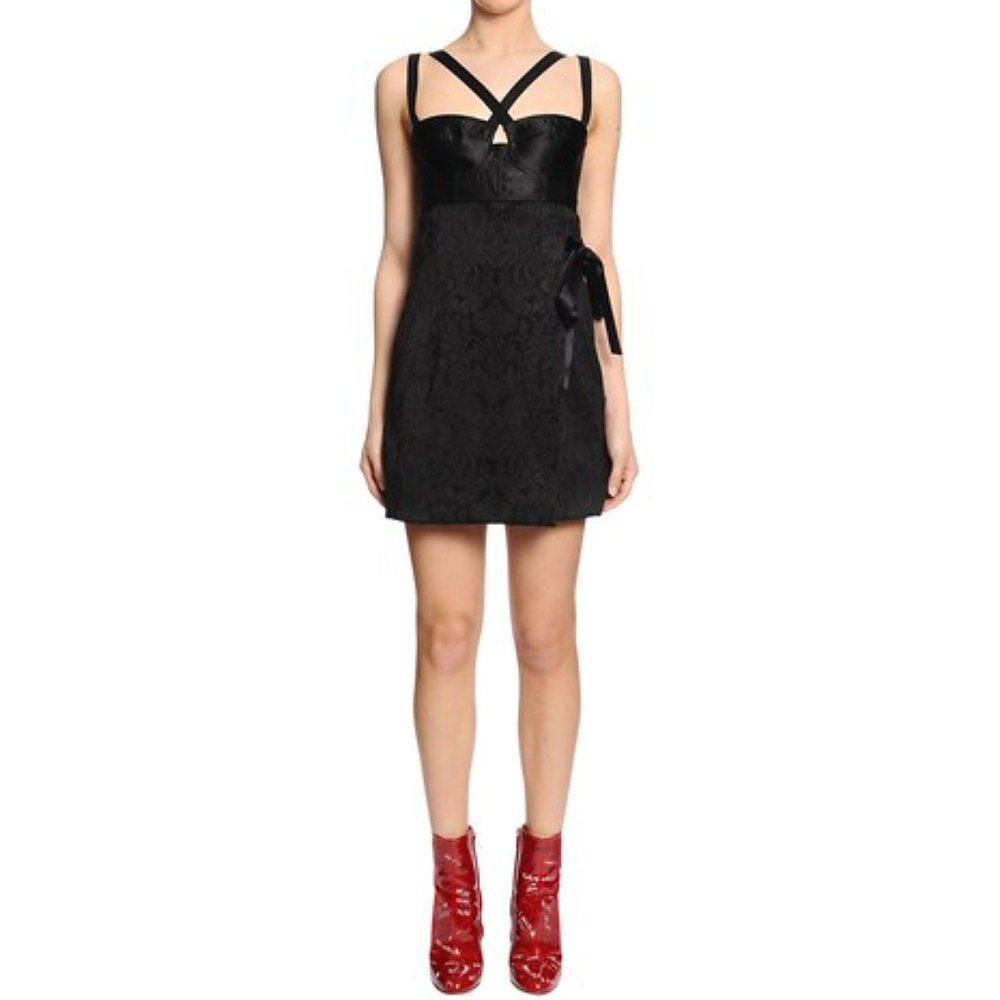 DOLCE & GABBANA Jacquard & Satin Bustier Mini Dress