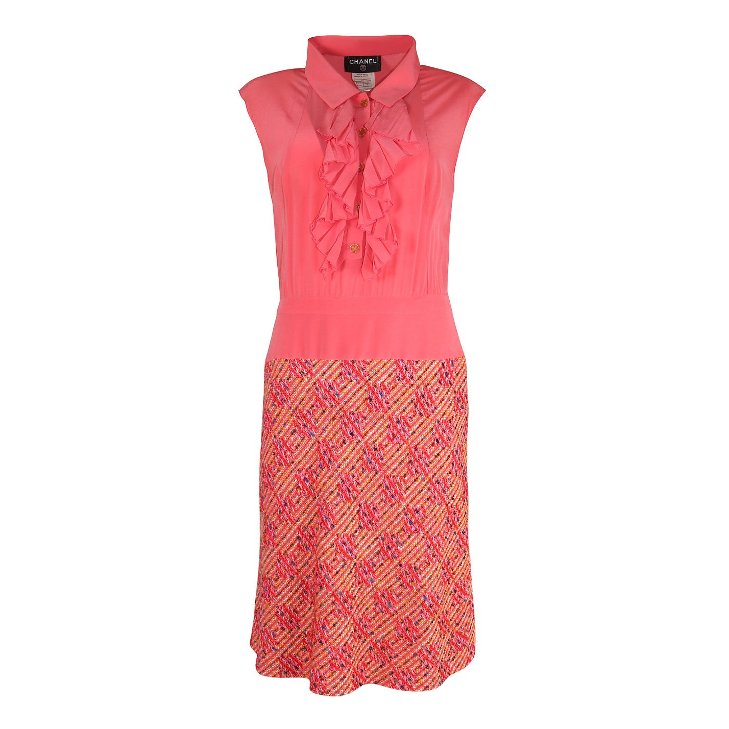 CHANEL Ruffle Dress With IntegratedTweed Skirt