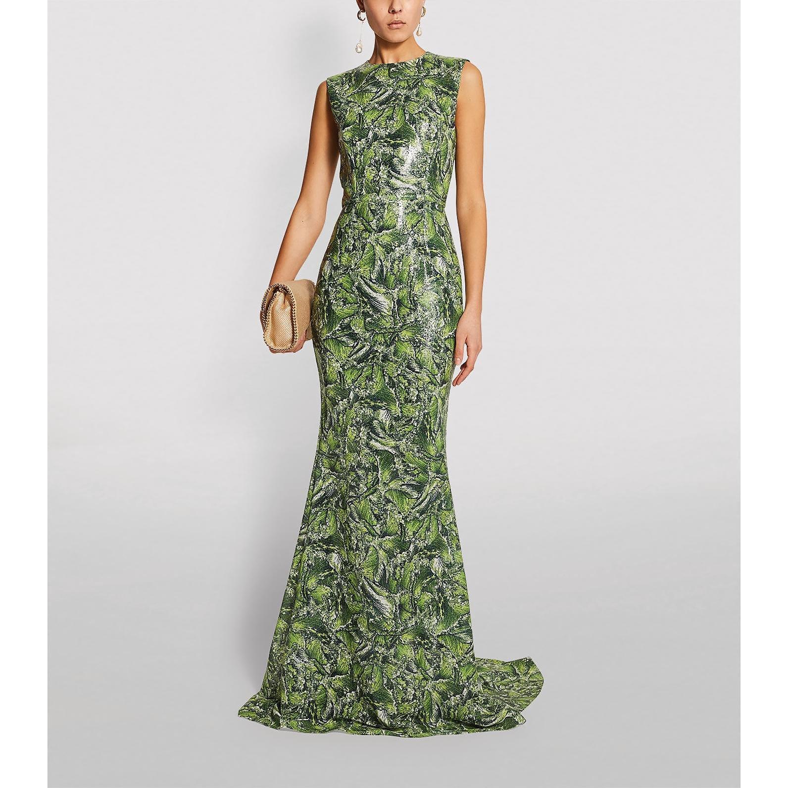 Halpern Embellished Wave Print Gown
