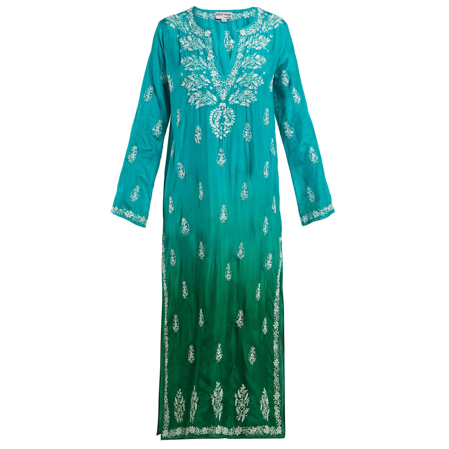 Juliet Dunn Sequin-Embellished Embroidered Silk Kaftan