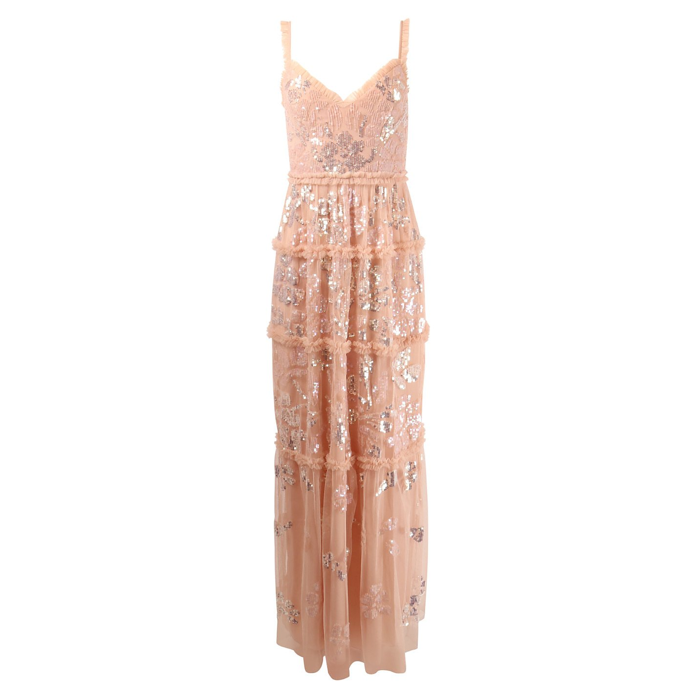Needle & Thread Floral Gloss Embellished Tulle Maxi Rose Dress