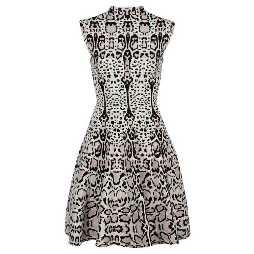 Alaïa Animal Print Sleeveless Wool-Blend Dress