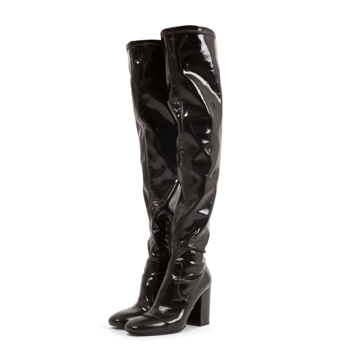PINKO Patent Thigh High Boots