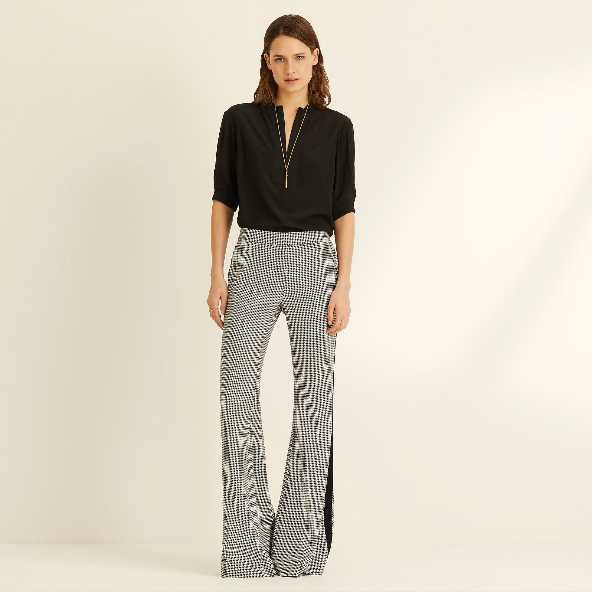 Amanda Wakeley Dogtooth Check Flared Trousers