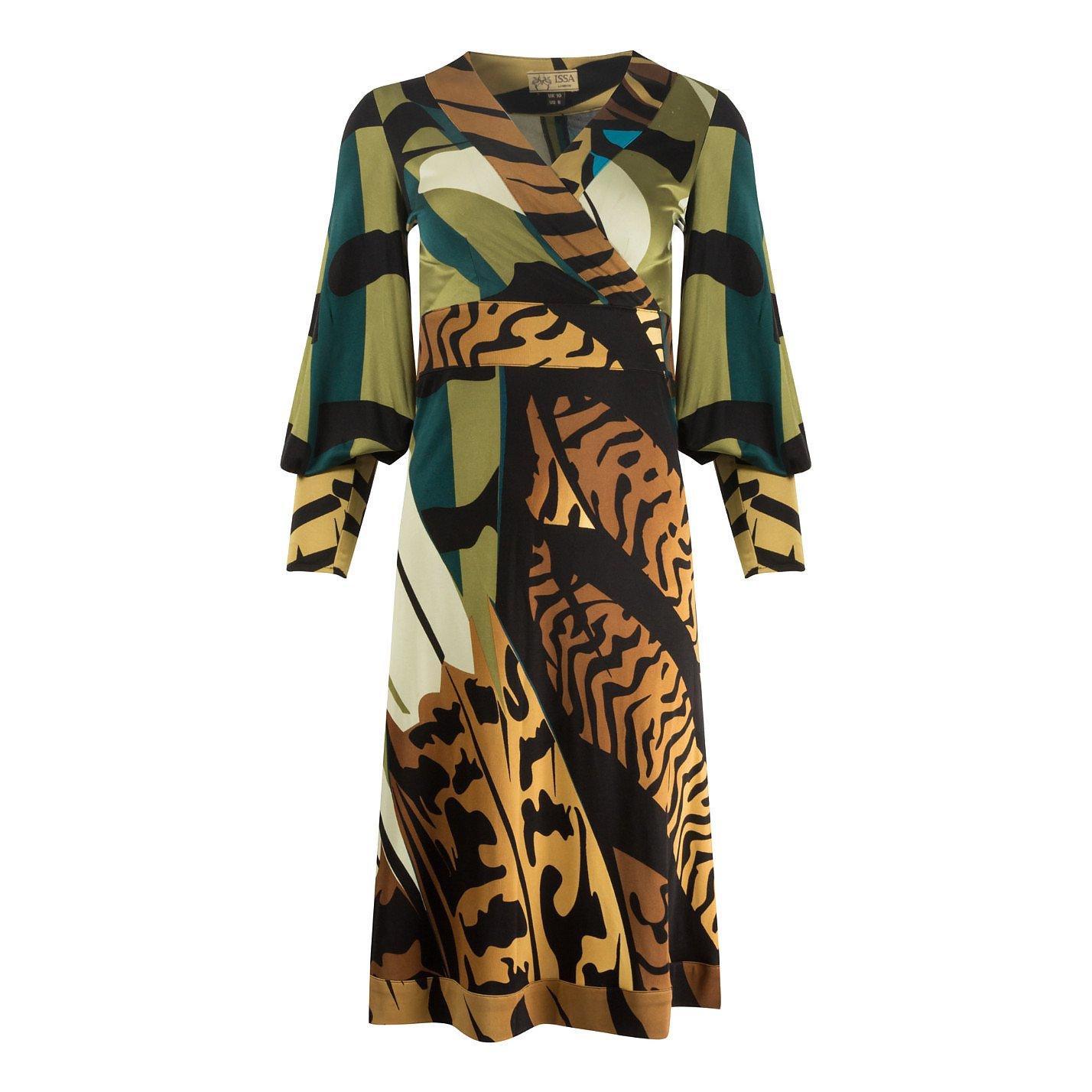 ISSA Printed Silk Midi Dress