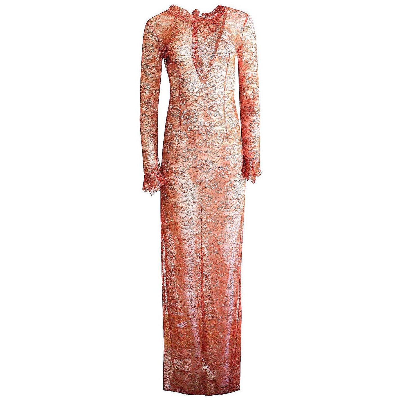 Emilio De La Morena Metallic Lace Dress