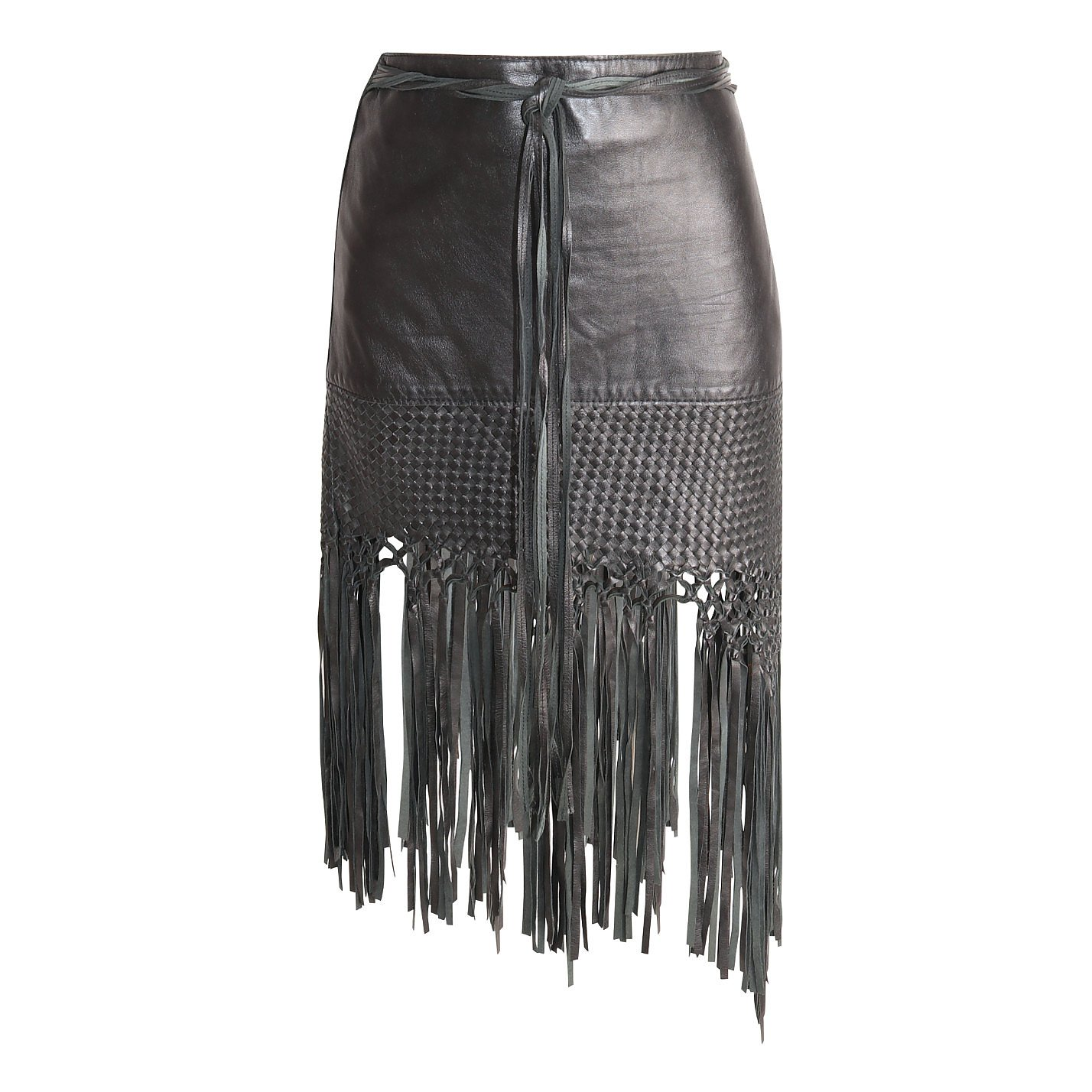 Vintage Leather Fringe Skirt