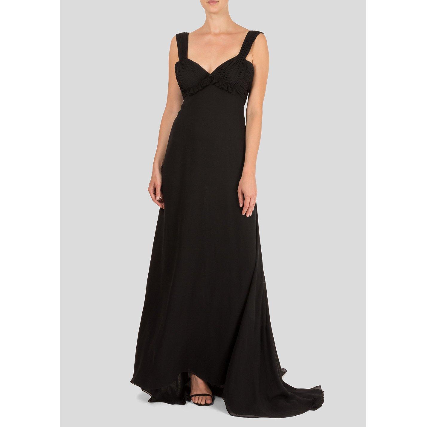 Oscar De La Renta Ruched Sleeveless Gown