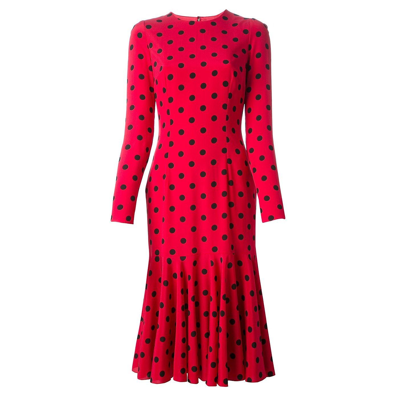 DOLCE & GABBANA Polka Dot Ruffle-Hem Dress