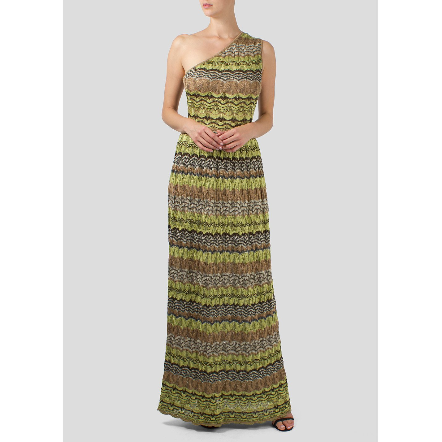 Missoni Patterned One Shoulder Gown
