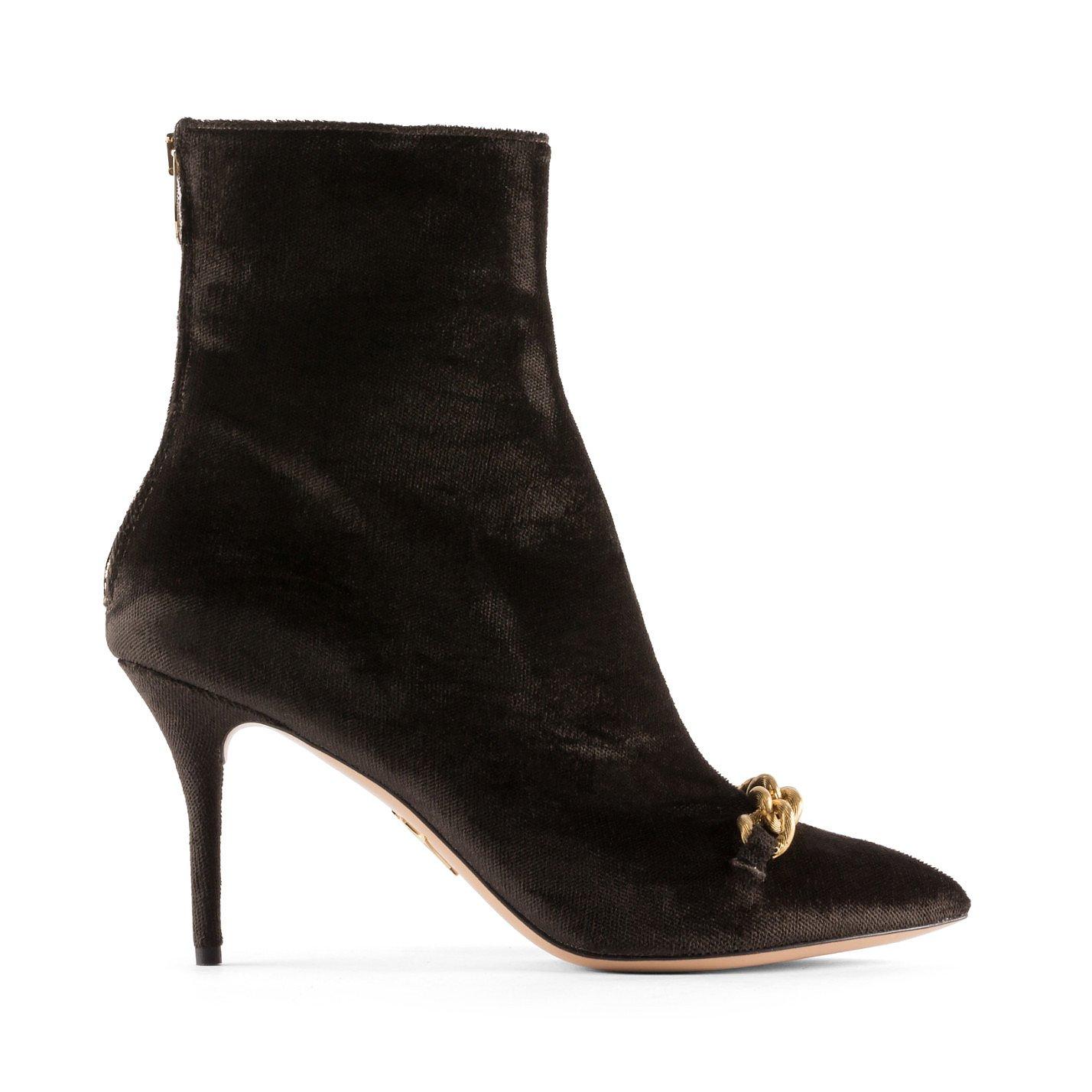 Charlotte Olympia Velvet Chain-Detail Ankle Boots