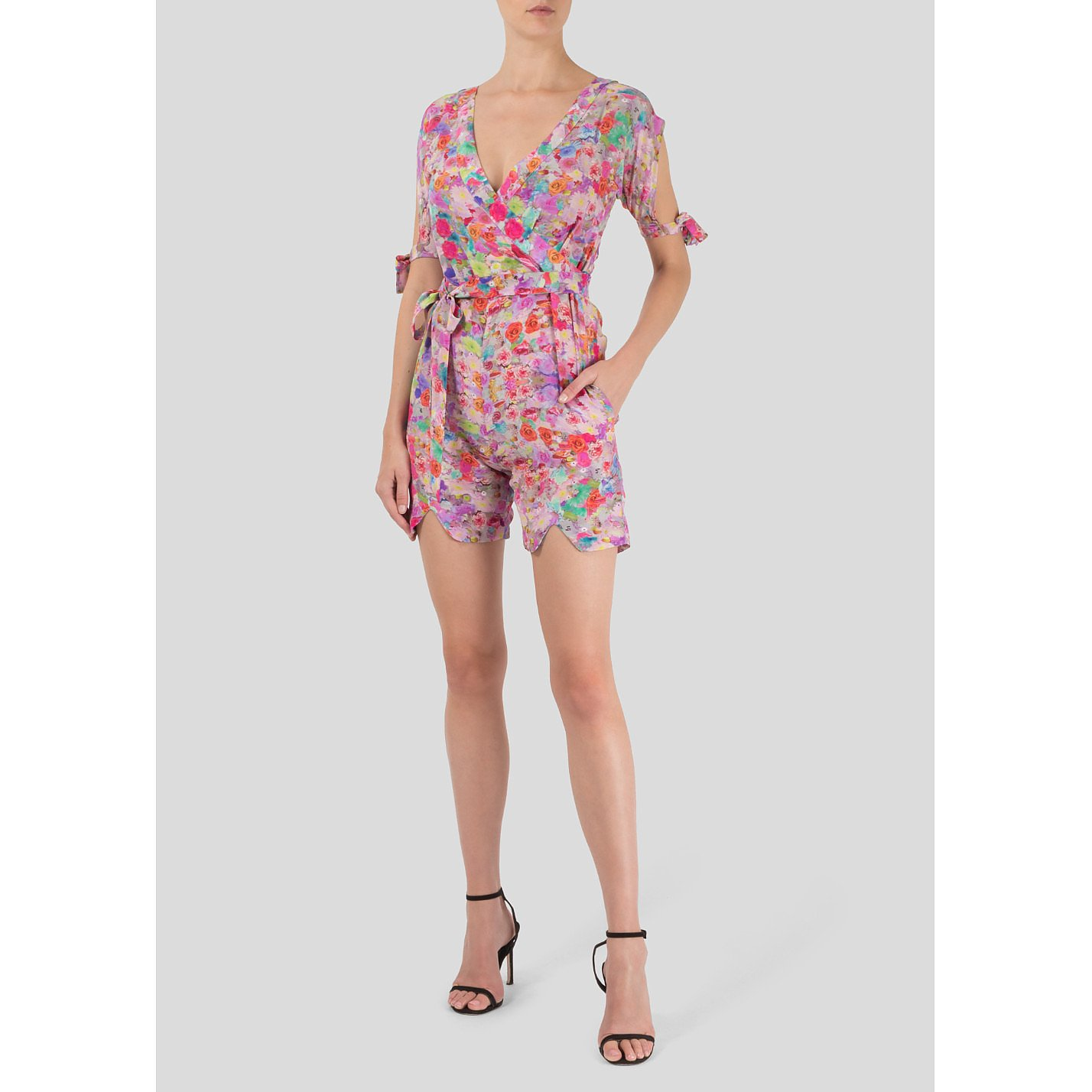 Tramp In Disguise Floral Silk Playsuit