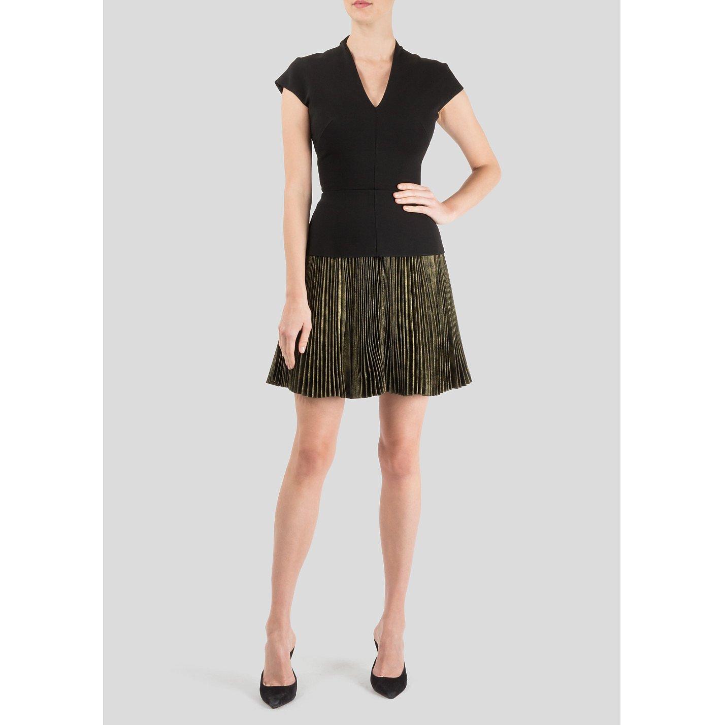 Victoria Beckham Pleated Metallic Skirt Dress