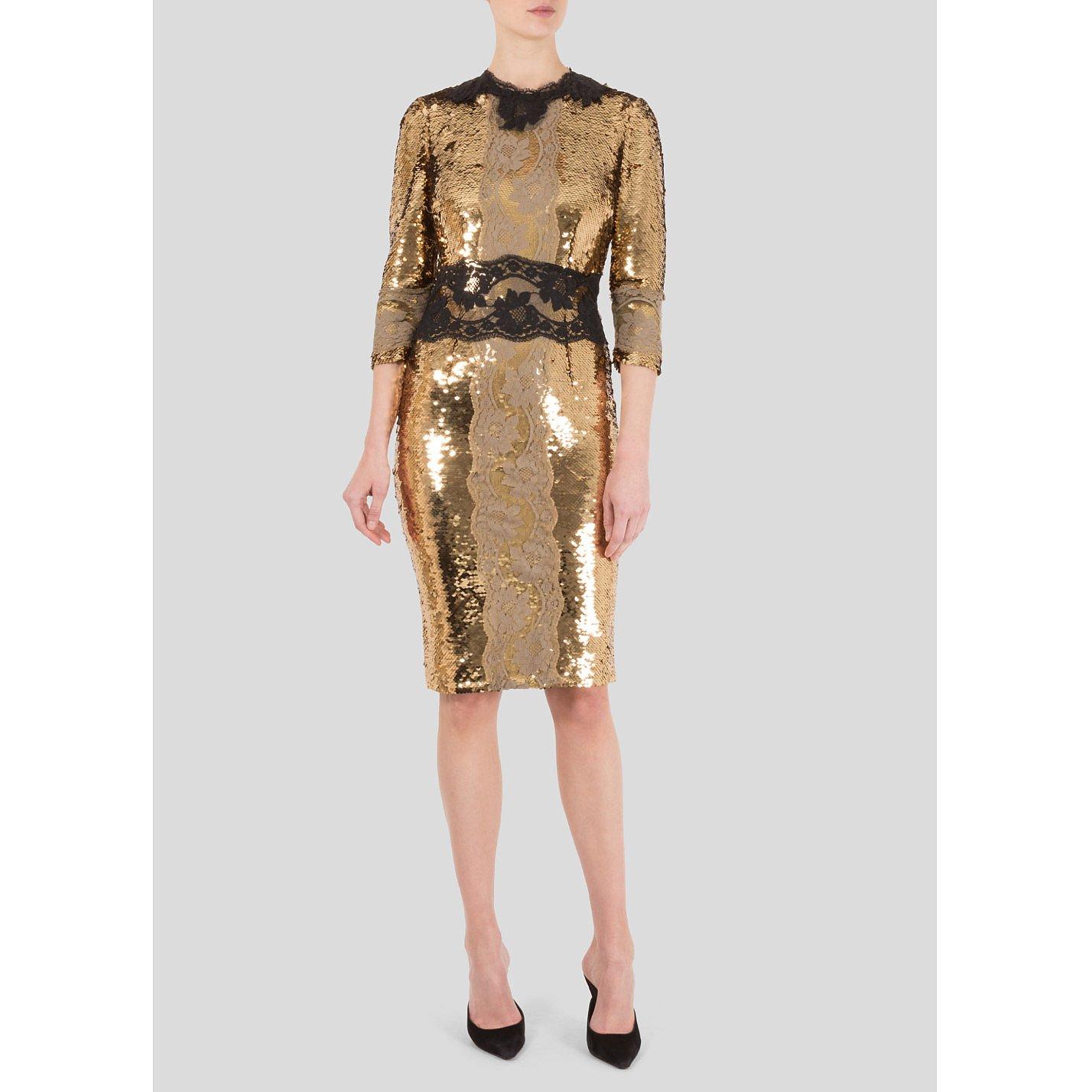 DOLCE & GABBANA Lace Detail Sequin Dress