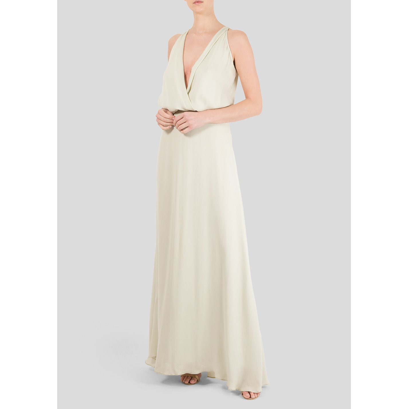 Michelle Mason Sleeveless Plunging V-Neck Gown