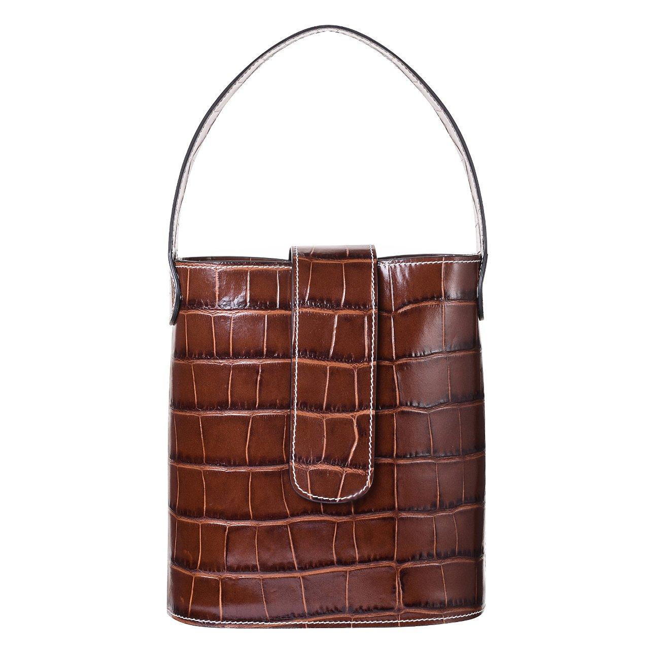C.Nicol Holly Mini Croc-Stamped Bucket Bag