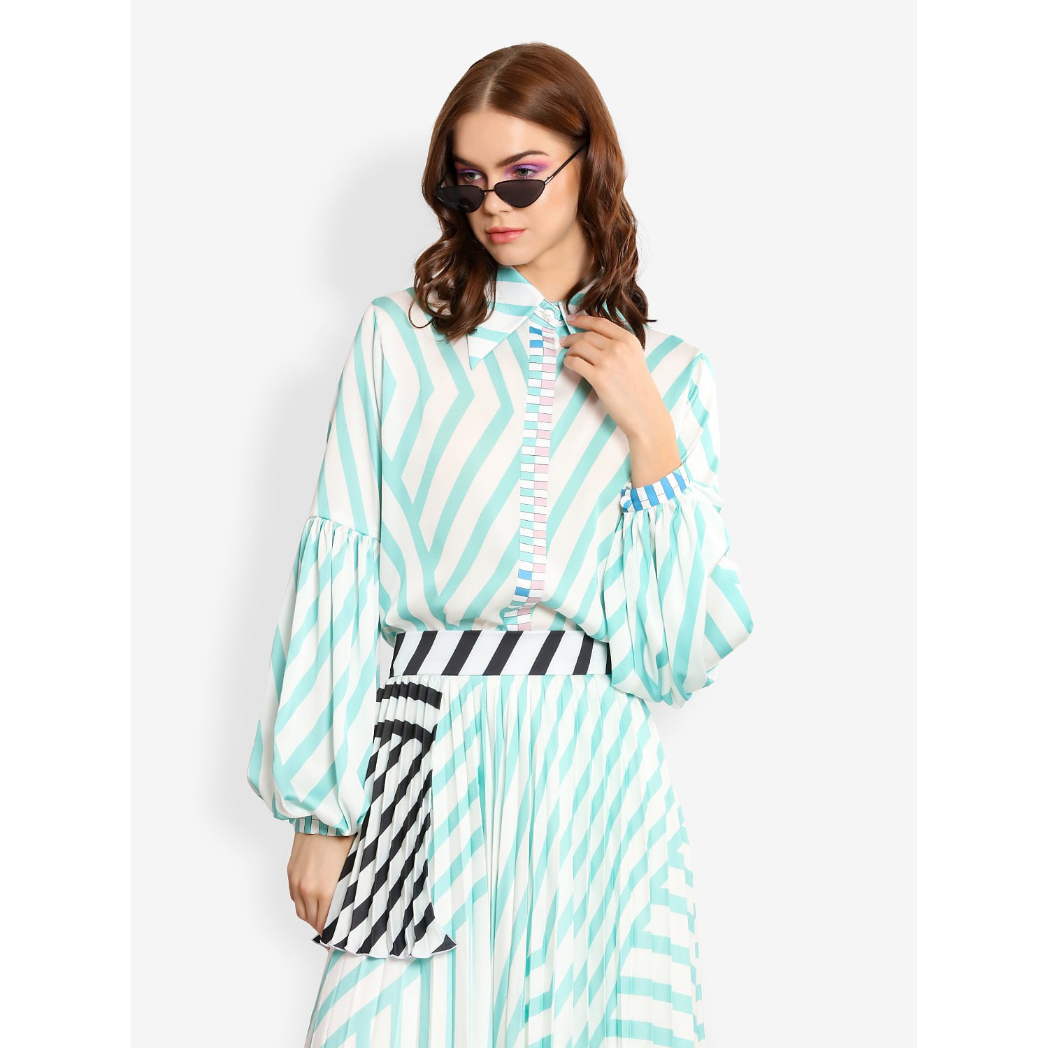 L'Mane Stripy Puff Sleeve Shirt