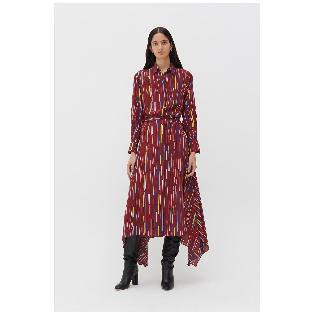Chinti and Parker Berry Verticals Silk Crepe De Chine Dress