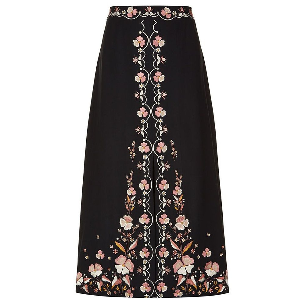 Vilshenko Claire Embroidered Crepe Skirt