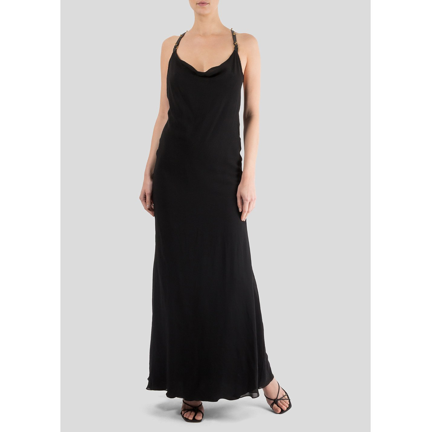 Felder Felder Silk Gown With Studded Leather Straps