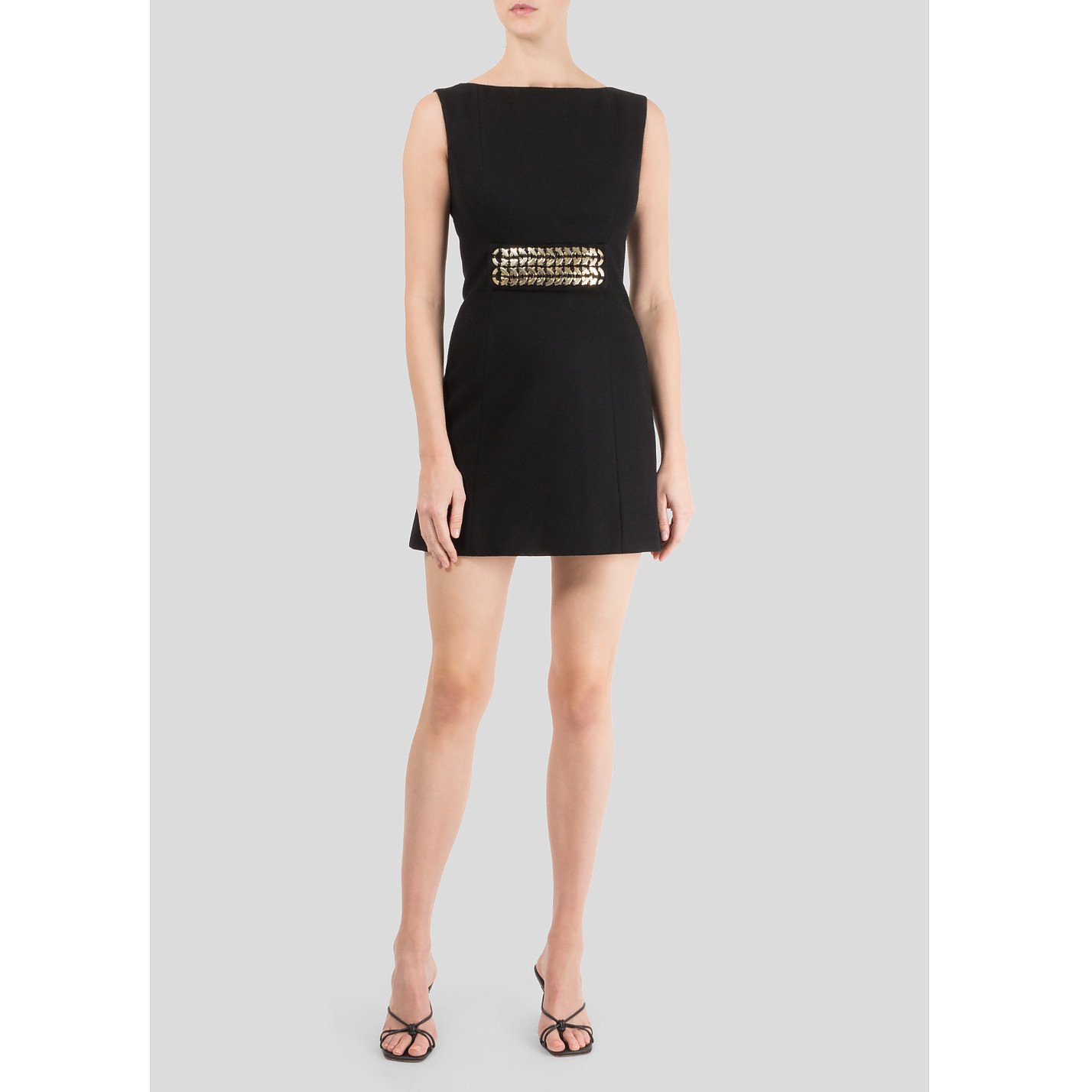 Victoria Beckham Wool Mini Dress With Metal Belt Detail