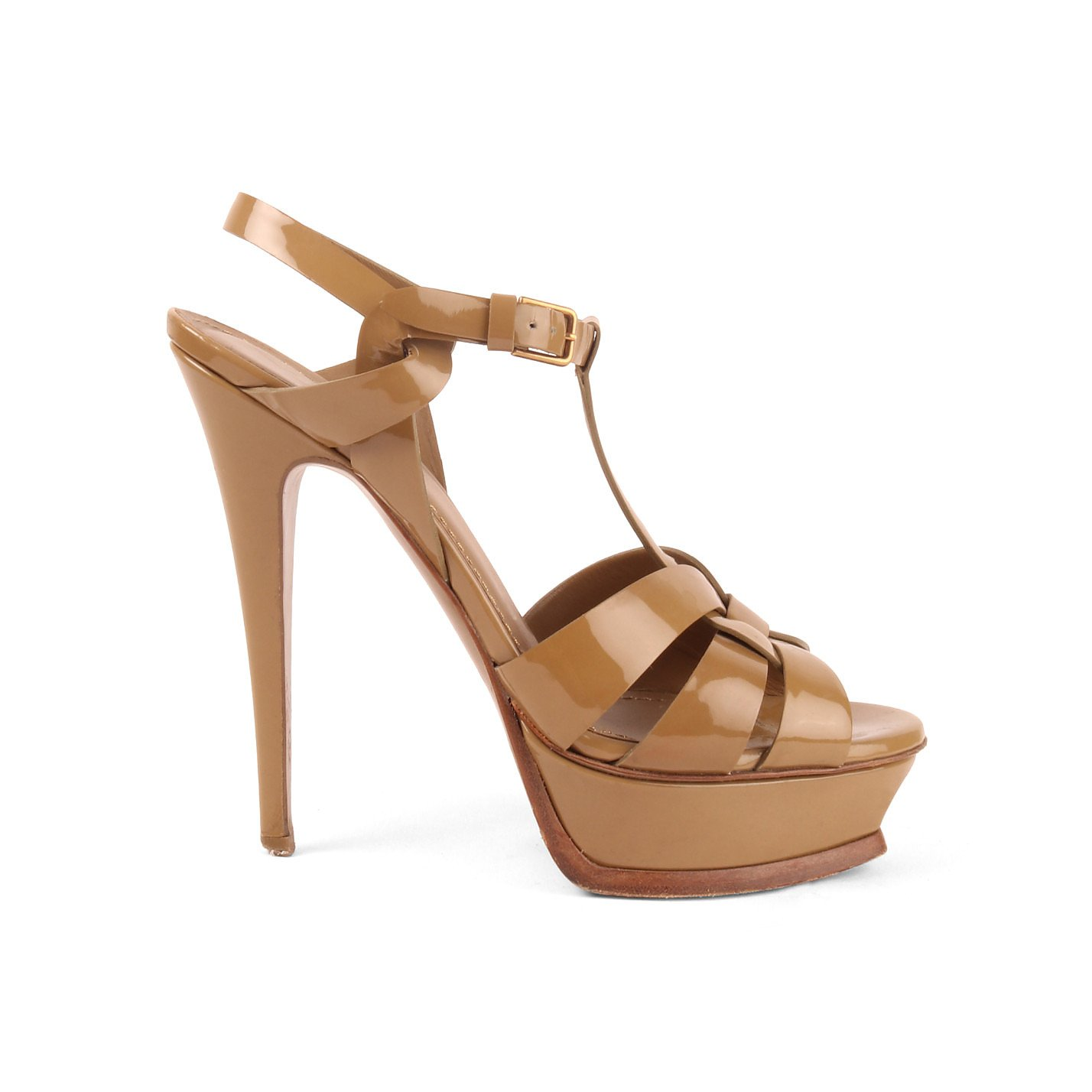 Yves Saint Laurent Tribute Sandal In Patent Leather