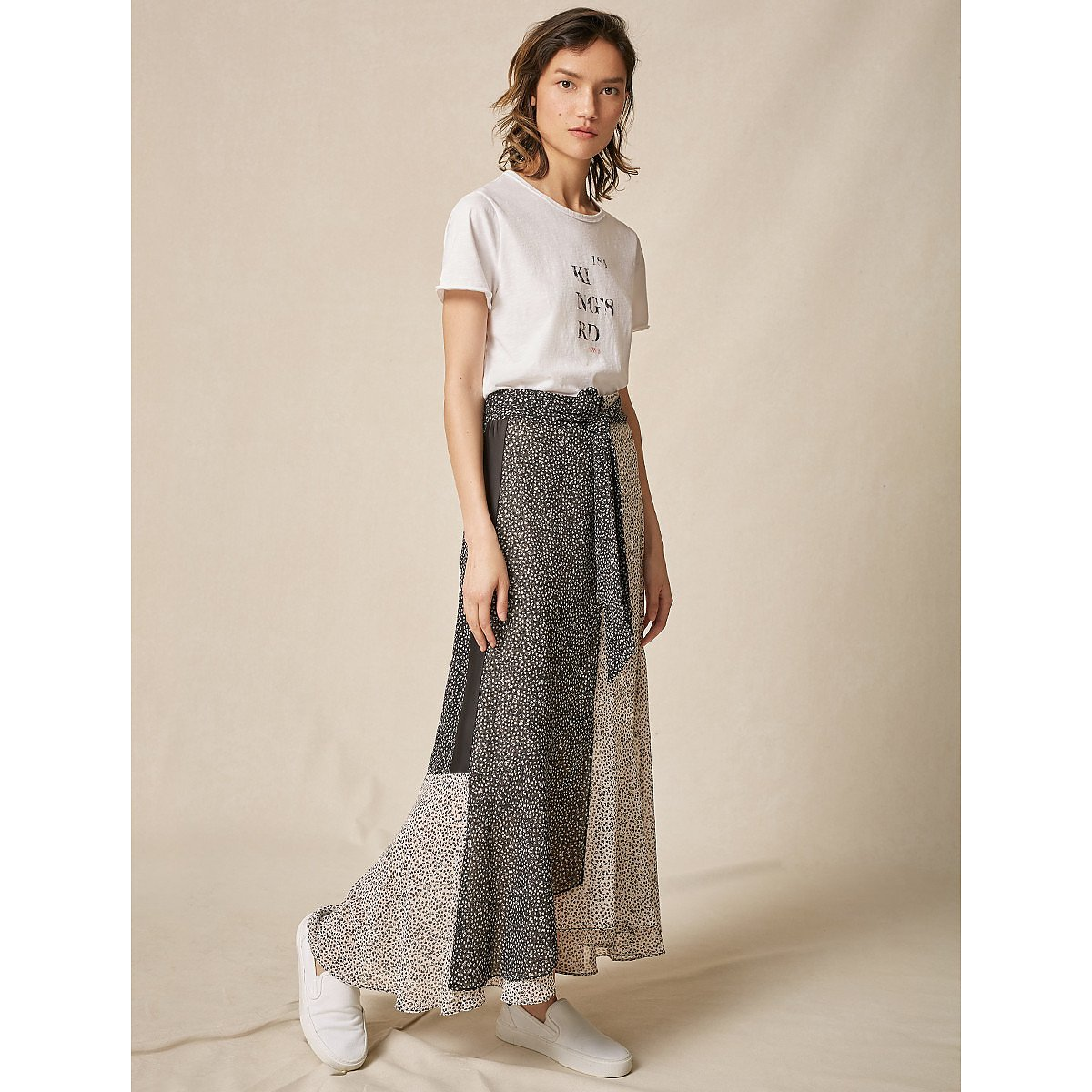 ME+EM Spliced Leaf Print Skirt
