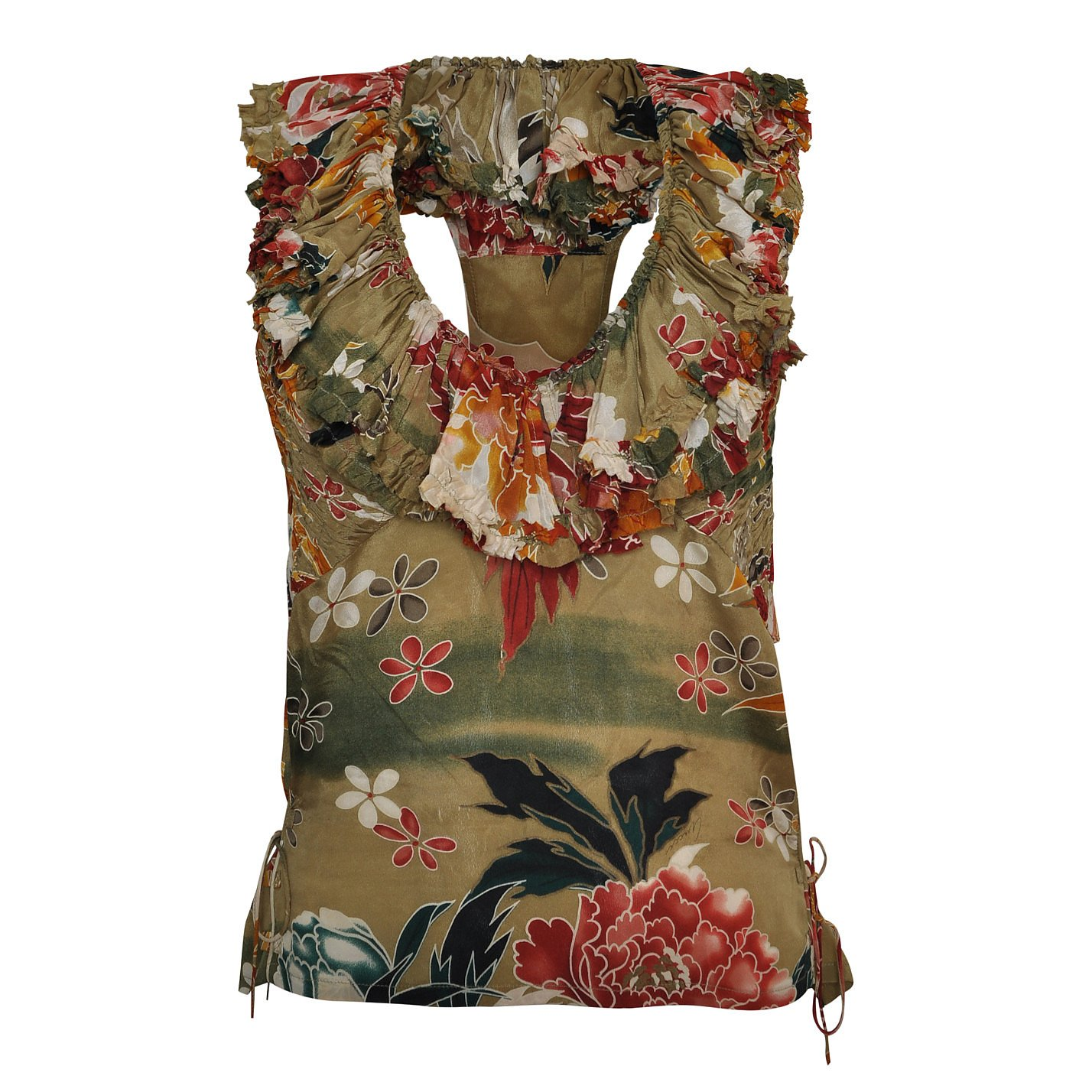 Gucci Sleeveless Floral Ruffle Top