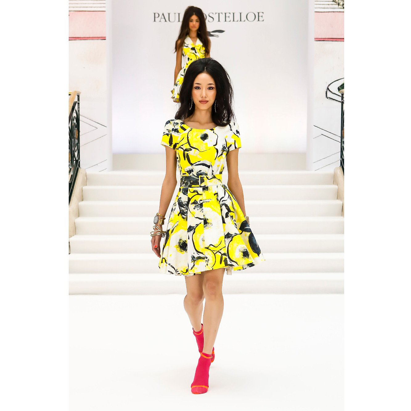 Paul Costelloe Printed Belted A-Line Dress