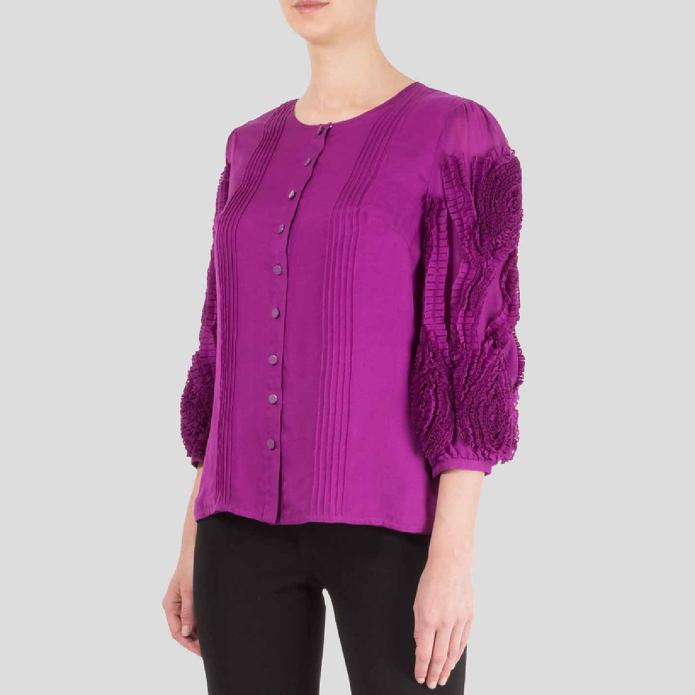 Catherine Malandrino Silk Shirt With Ruffled Sleeves
