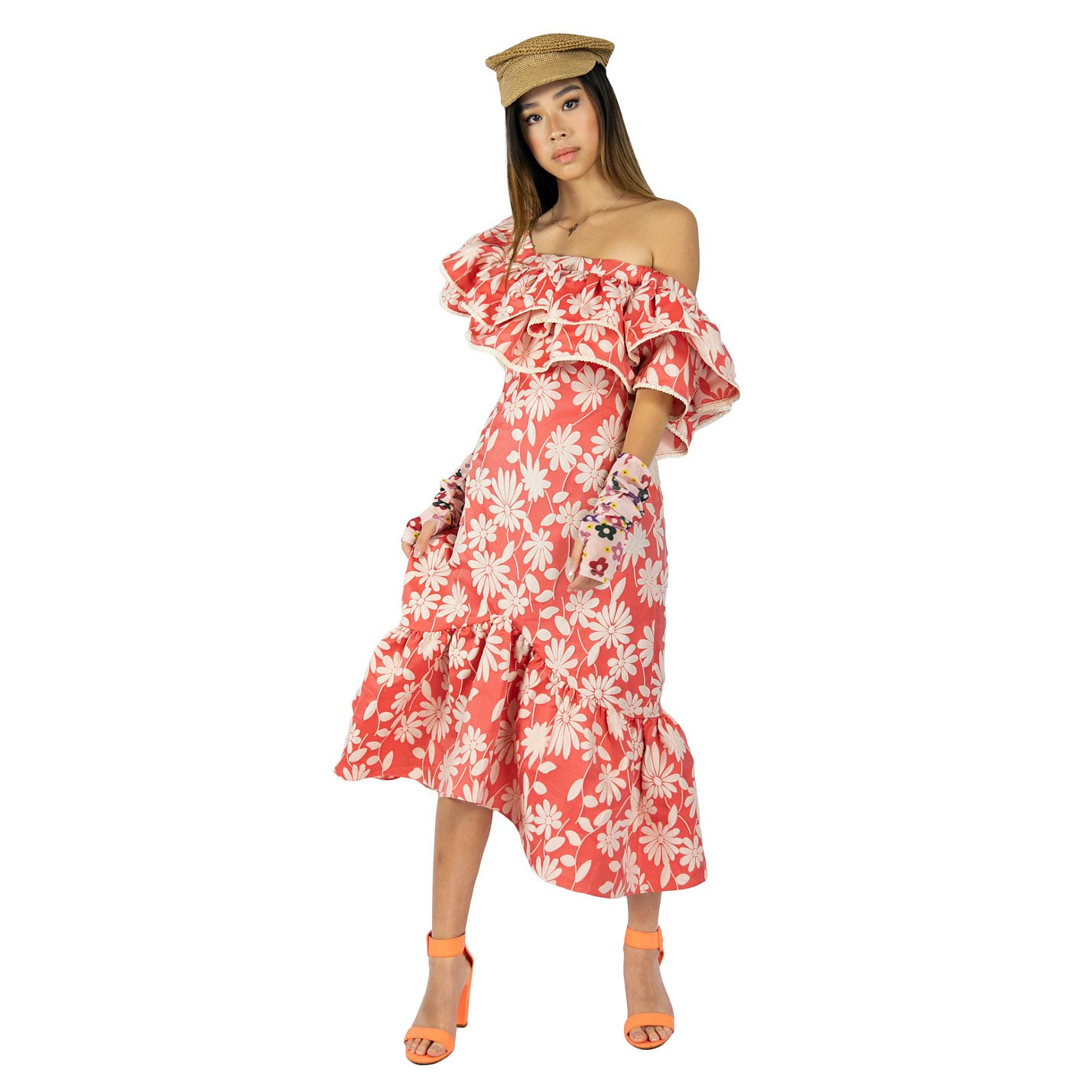Syra J Floral Pattern Frill Dress