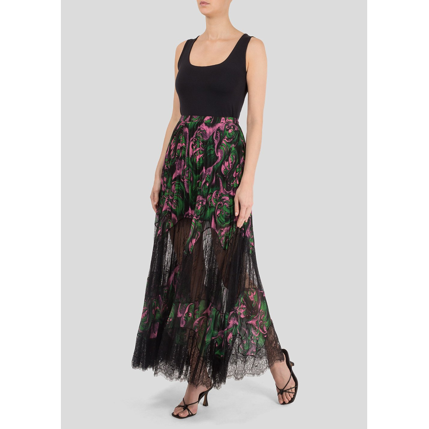 McQ Lace-Panelled Pleated Print Skirt