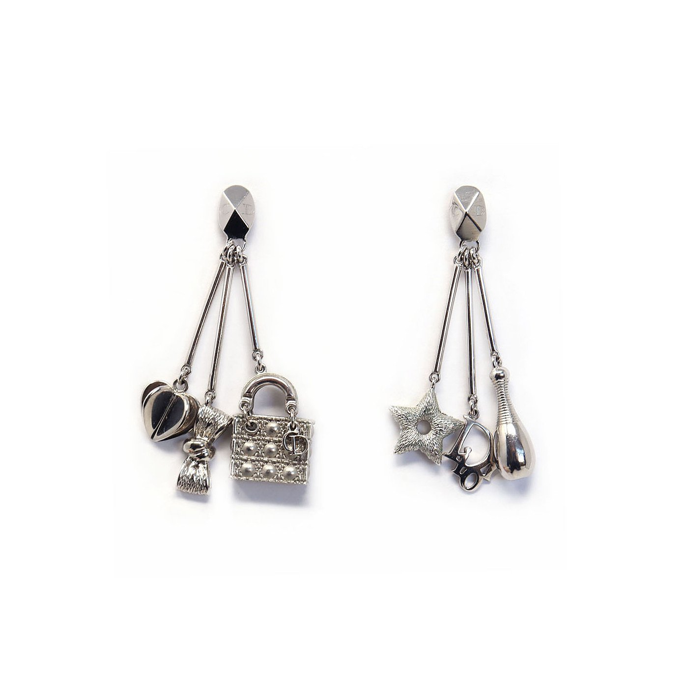 Dior Vintage 1990s Silver Emblem Charm Earrings