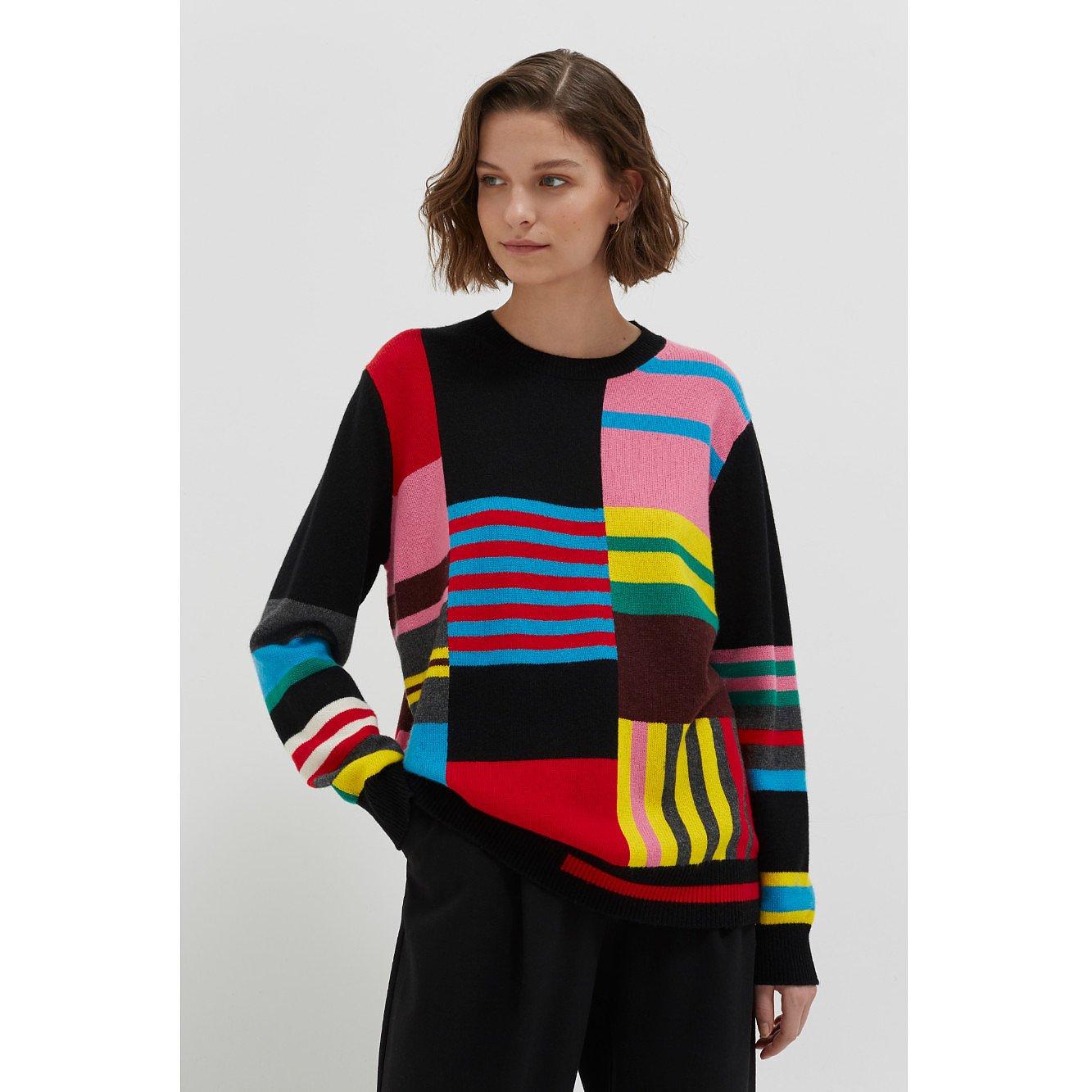 Chinti and Parker Multicolour Eccentric Wool-Cashmere Sweater