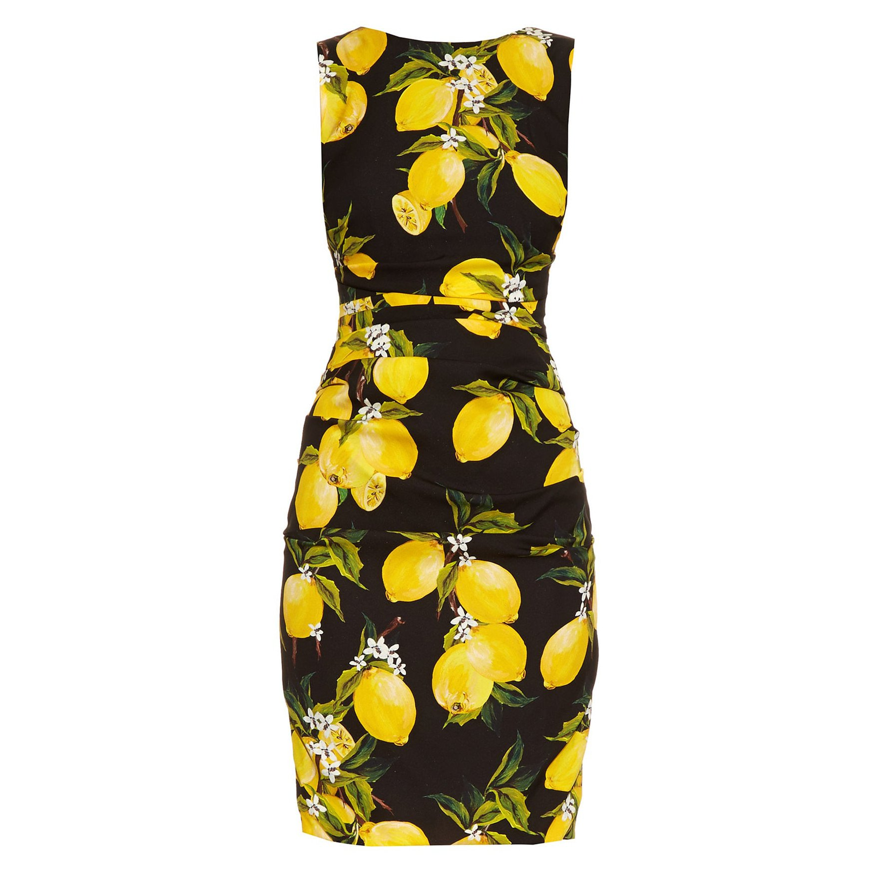 DOLCE & GABBANA Lemon-Print Ruched Silk Dress