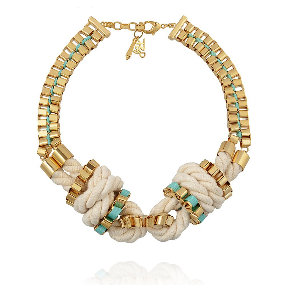 John & Pearl Knot Necklace in Gold, White and Turquoise