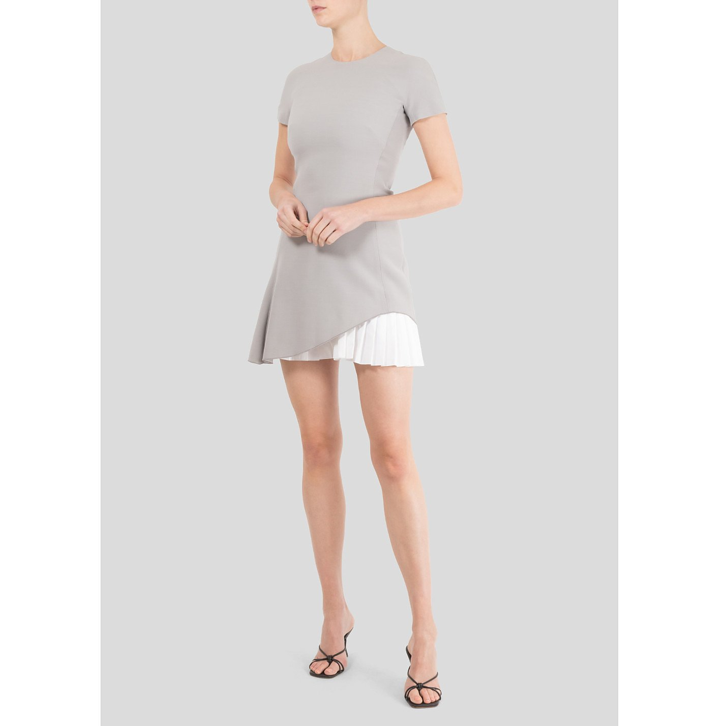 Victoria Beckham Short Sleeve Pleated Mini Dress